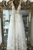 A line 3D Flowers Deep V Neck Ivory Straps Wedding Dresses Simple Boho Bridal Gowns W1085