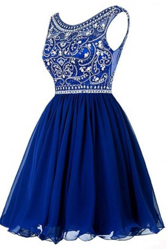 A line Blue Chiffon Scoop Homecoming Dresses with Beads Straps Prom Dresses WK802