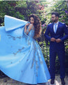 A line Blue Half Sleeve Satin Beads Prom Dresses Sweetheart Lace Appliques Formal Dress WK551