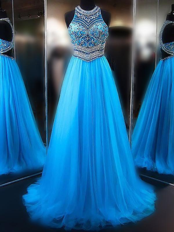 A line Blue Tulle Halter Beads Open Back Prom Dresses Long Evening Dresses WK579