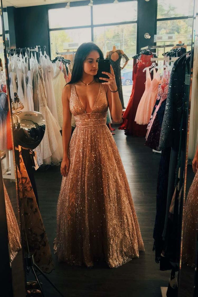 A line Deep V Neck Sleeveless Sequins Floor Length Prom Dresses Long Evening Dresses WK374