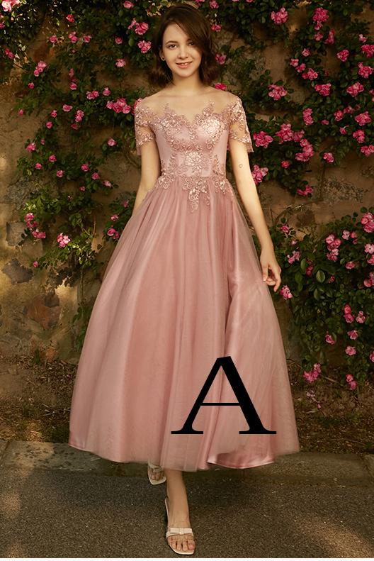 A line Dusty Pink Short Sleeve Bridesmaid Dresses Lace Tulle Prom Dresses PW807
