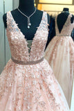A line Lace V Neck Pink Prom Dresses with Appliques Long Cheap Evening Dresses WK730