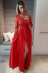 A line Navy Blue Long Sleeve Sweetheart Prom Dresses Slit Long Evening Dresses WK525