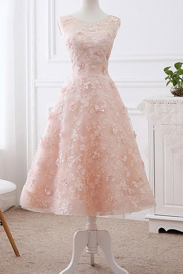 A line Pink Lace Appliques Cap Sleeve Scoop Homecoming Dresses, Short Prom Dress PW864