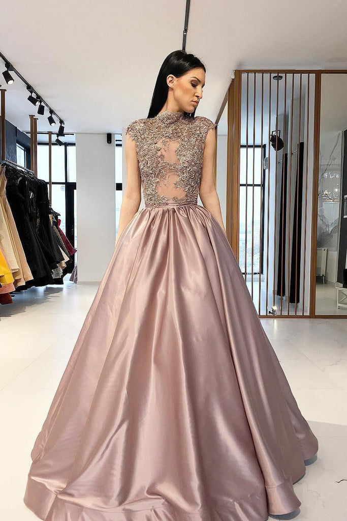 A line Satin Beads High Neck Prom Dresses Long Cheap Dance Dresses WK716