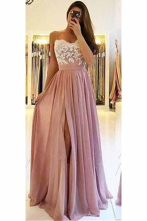 A line Spaghetti Straps Chiffon Sweetheart Prom Dresses with Slit Lace WK594