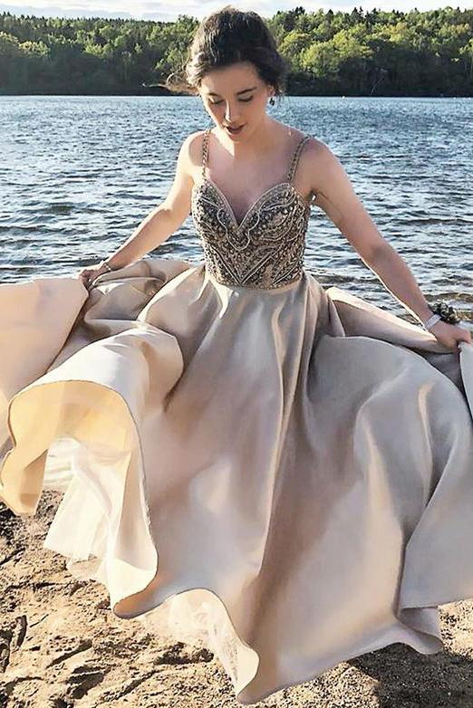A line Spaghetti Straps Long V Neck Prom Dresses With Beading Evening Gown WK459