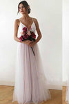 A line Spaghetti Straps Pearl Pink V Neck Backless Tulle Bridesmaid Dress Prom Dresses BD1007