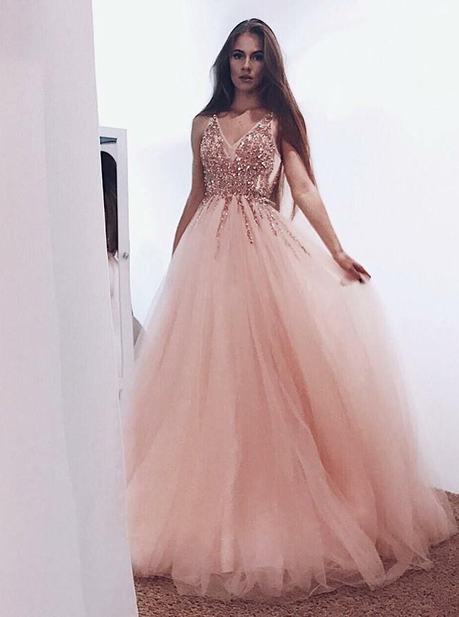 A line Tulle Blush Pink Prom Dresses with Beaded Sequins V Neck Bodice WK653