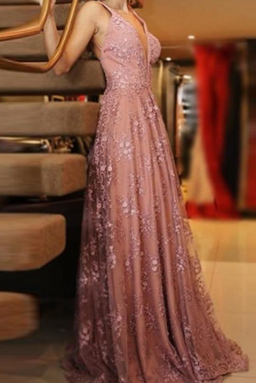 A line V Neck Pink Lace Backless Appliques Prom Dresses Sleeveless Evening Dresses WK555