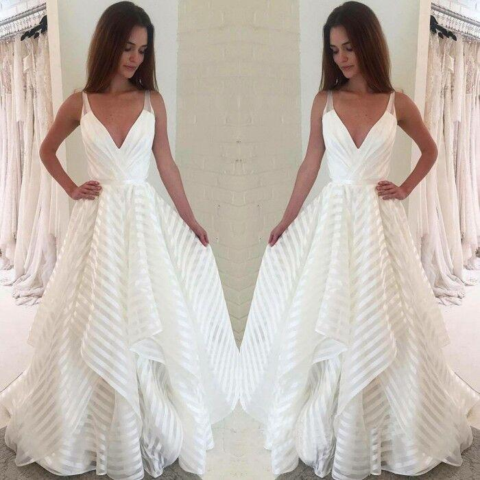 A line V Neck Spaghetti Straps Prom Dresses with Ruffles Long Wedding Dresses WK595