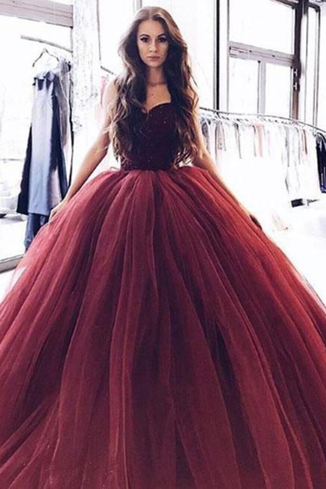 Ball Gown Burgundy Tulle Strapless Sweetheart Prom Dresses, Quinceanera Dresses PW696