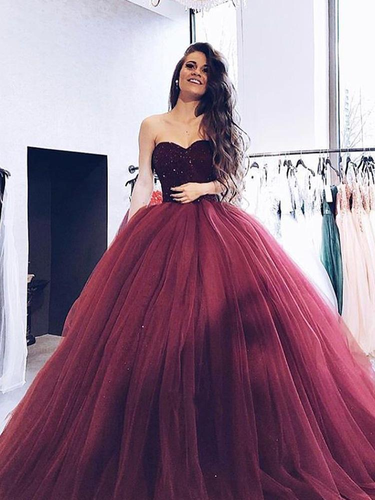 Ball Gown Burgundy Tulle Strapless Sweetheart Prom Dresses Quinceanera Dresses WK696