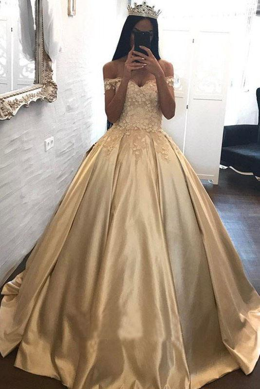 Ball Gown Champagne Gold Satin Quinceanera Dresses, Appliques Lace Prom Dresses PW933