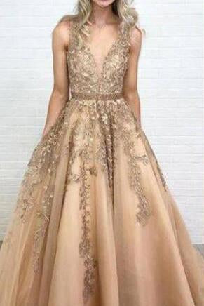 Ball Gown Gold Lace Long Prom Dresses with Appliques V Neck Tulle Evening Dresses WK589