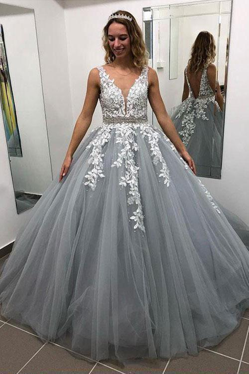 Ball Gown Gray V Neck Prom Dresses with Lace Appliques, Quinceanera Dresses PW684