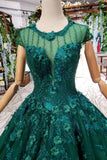 Ball Gown Green Court Train Scoop Lace Appliques Cap Sleeves Lace up Prom Dresses WK787