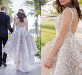 Ball Gown Lace Appliques High Low Backless Beads Wedding Dresses Bridal Dresses WK559