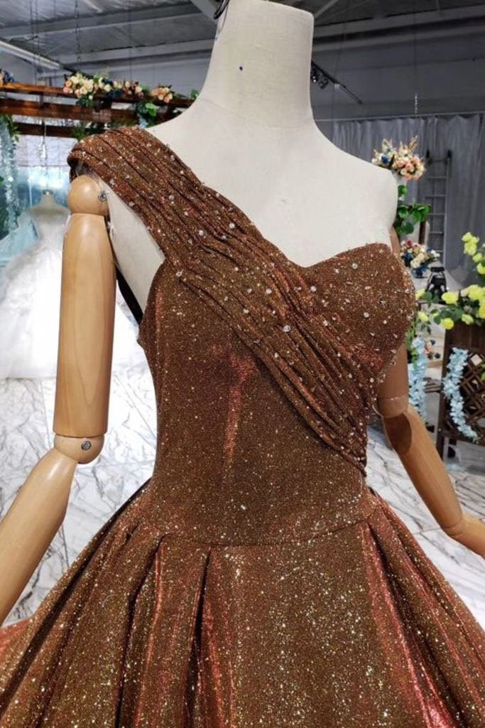 Ball Gown Long Prom Dresses One Shoulder Lace up Sequins Beads Quinceanera Dress WK969