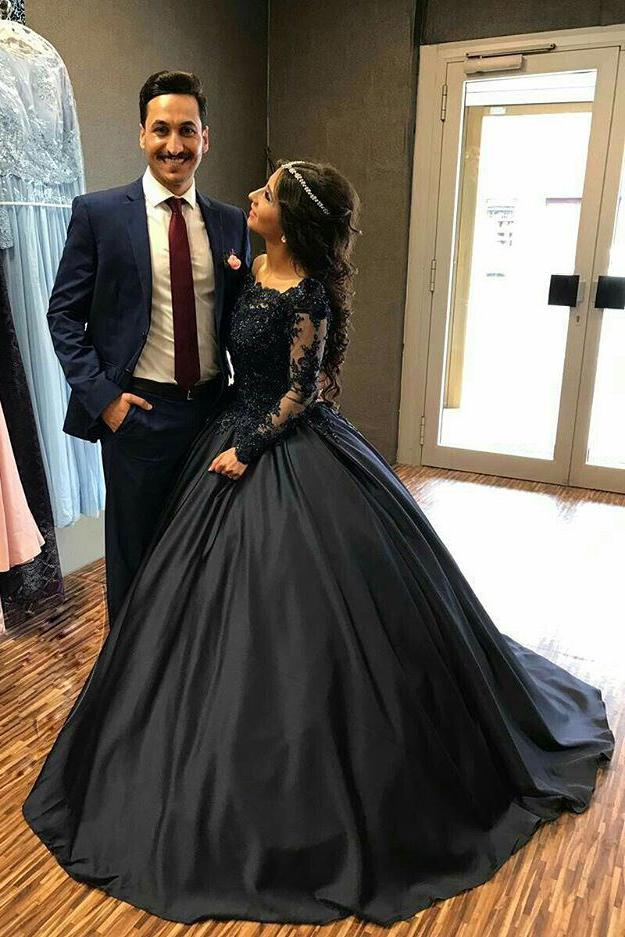 Ball Gown Long Sleeves Navy Blue With Lace Prom Dress Quinceanera Dresses WK450