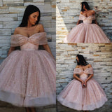 Ball Gown Off the Shoulder Homecoming Dress Pink Tea Length Prom Dresses WK739