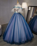 Ball Gown Off the Shoulder Short Sleeve Lace up Sweetheart Prom Dresses with Appliques WK991