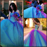 Ball Gown Ombre Sweetheart Strapless Tulle Prom Dresses Quinceanera Dresses WK691