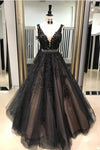 Beautiful Straps Aline Appliques Long Sparkly Beads V Neck Open Back Prom Dresses P1016