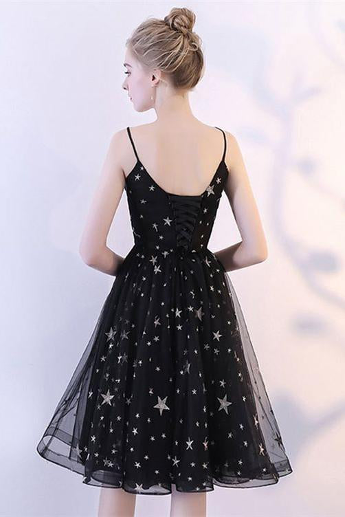 Black V Neck Short Prom Dresses Spaghetti Straps Knee Length Homecoming Dress with Stars H1061