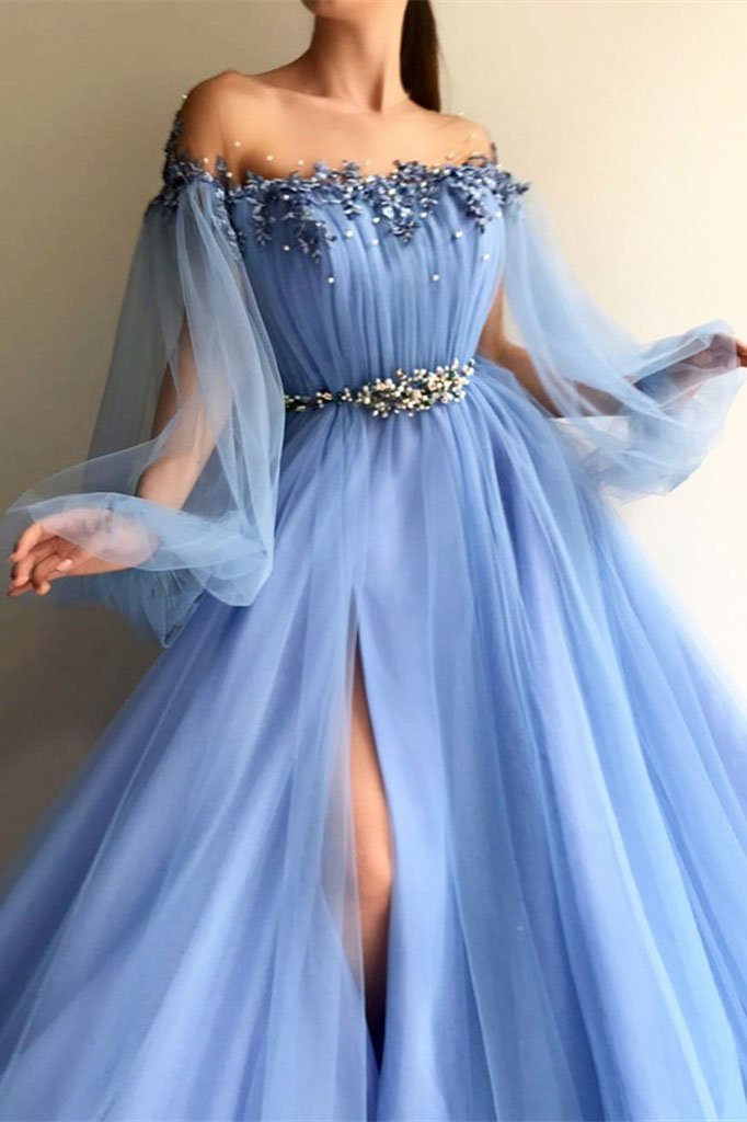 Blue Long Sleeve Tulle Prom Dresses with High Split, Beaded Crystal Evening Dresses PW740