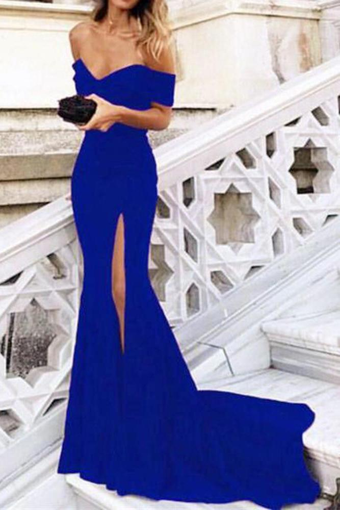 Blue Mermaid Off the Shoulder Prom Dresses with Split Satin Sweetheart Party Dress PW652