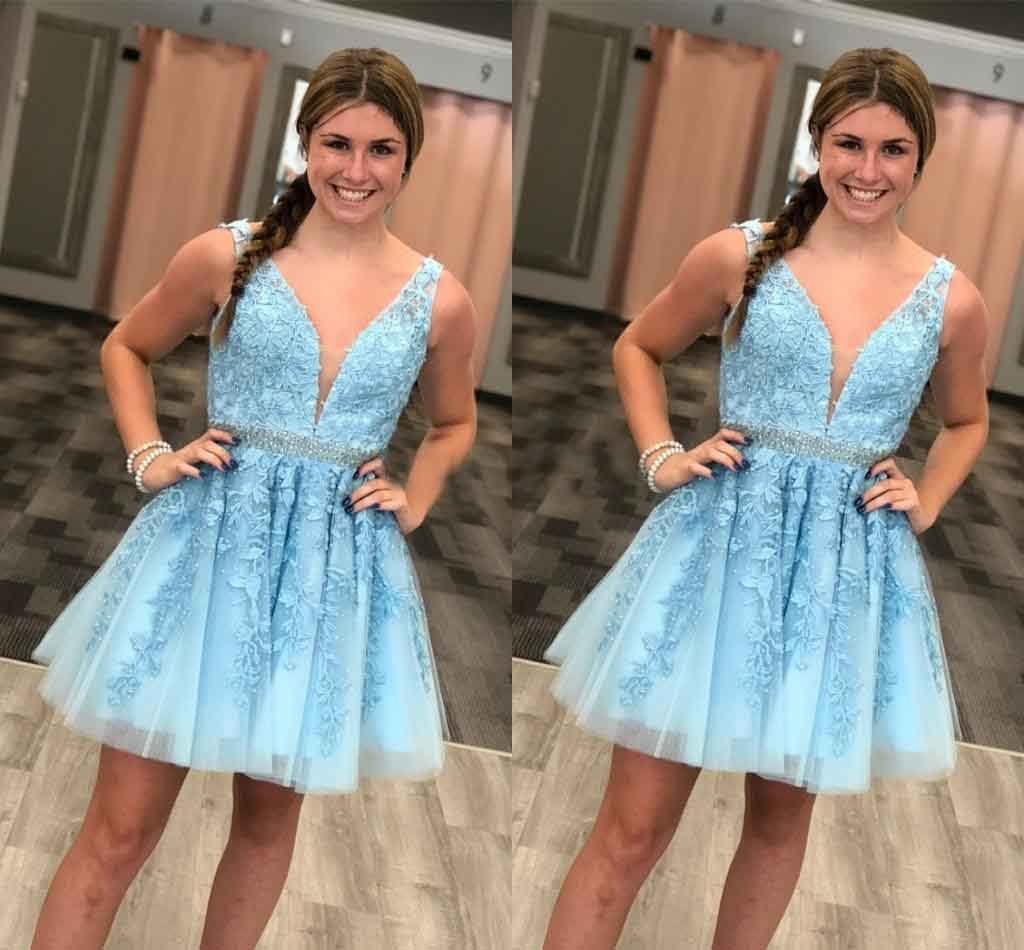 Blue Tulle V Neck Above Knee Beads Lace Appliques Short Homecoming Dresses WK763
