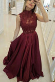 Burgundy High Neck Lace Prom Dresses Beads Satin Long Cheap Party Dresses WK573