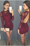 Burgundy Long Sleeve High Neck Backless Sheath Lace Homecoming Dresses, Cocktail Dress PW870