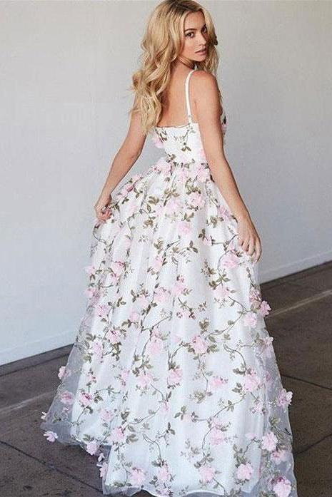 Beautiful Spaghetti Straps Floral Lace V-Neck Open Back Tulle Pink Prom Dresses WK522