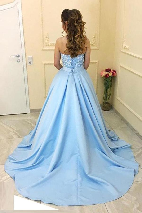 Blue Satin A-Line Princess Sweetheart Neck Strapless Lace up Long Sleeveless Prom Dresses WK286