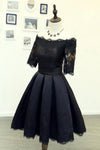 A Line Black Short Sleeves Off the Shoulder Lace Appliques Satin Homecoming Dresses WK885