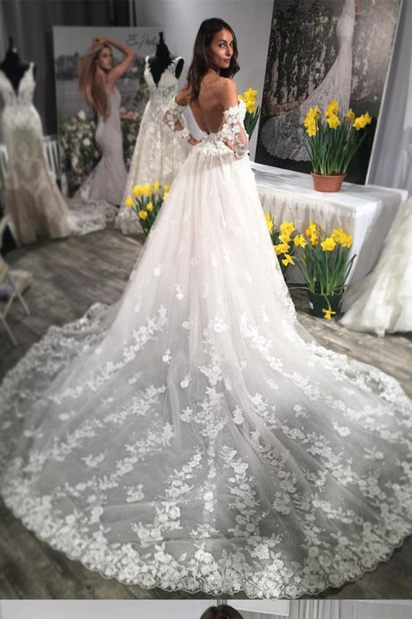A Line Long Sleeves Ivory Lace Appliques Beads Sweetheart Long Wedding Dresses WK785