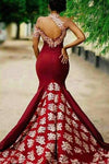Charming Burgundy Prom Dresses Mermaid Long Lace Appliqued Sleeveless Formal Dress WK340