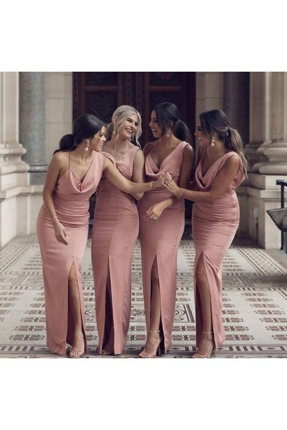 Charming Sheath V Neck Prom Dresses Slit Pink Long Bridesmaid Dresses WK515