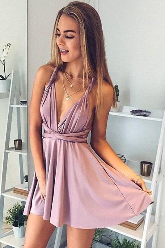 Cheap Slate Blue Deep V Neck Convertible Dusty Rose Mini Homecoming Dresses H1162