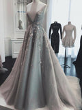 Chic A Line Silver Tulle Prom Dresses V Neck Lace Appliques Long Formal Dresses WK978