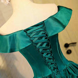Chic Green Off the Shoulder Short Prom Dresses Lace up Satin Homecoming Dresses H1071