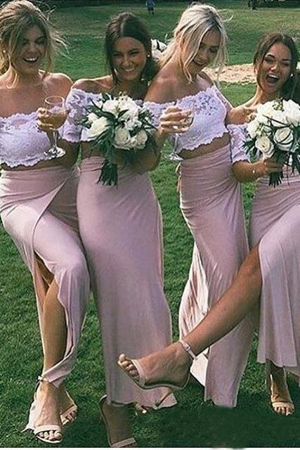 Chic Pink Short Sleeve Lace Side Slit Off the Shoulder Two Piece Bridesmaid Dresses PW958
