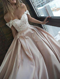 Chic Satin Prom Dresses Off the Shoulder Cheap Lace Sweetheart Wedding Dress WK520