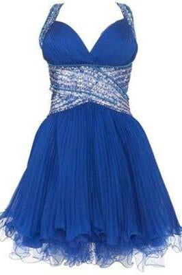 Cute cross back blue V-Neck Halter chiffon short sweetheart prom dress WK800