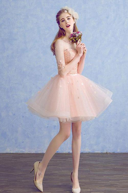 Cute A Line Half Sleeve Pink Round Neck Tulle Homecoming Dresses with Lace Prom Dress WK823