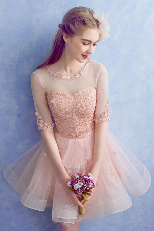 Cute A Line Half Sleeve Pink Round Neck Tulle Homecoming Dresses with Lace, Prom Dress PW823