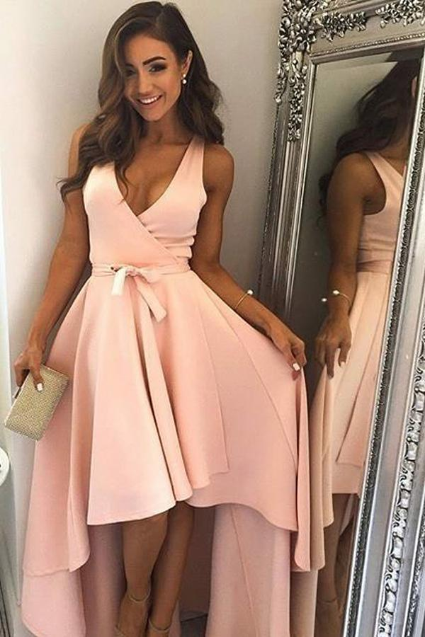 Cute A Line Pearl Pink Straps V Neck High Low Wrap Homecoming Dresses with Belt H1296